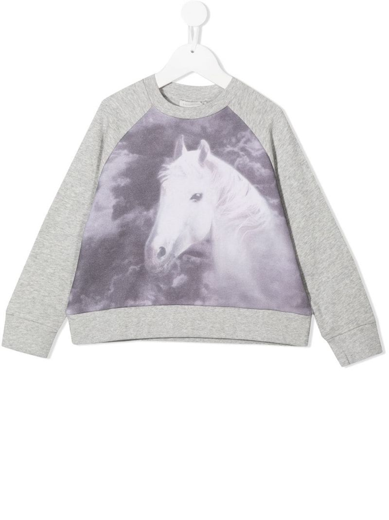 STELLA McCARTNEY KIDS: horse print cotton sweatshirt Color Grey_1