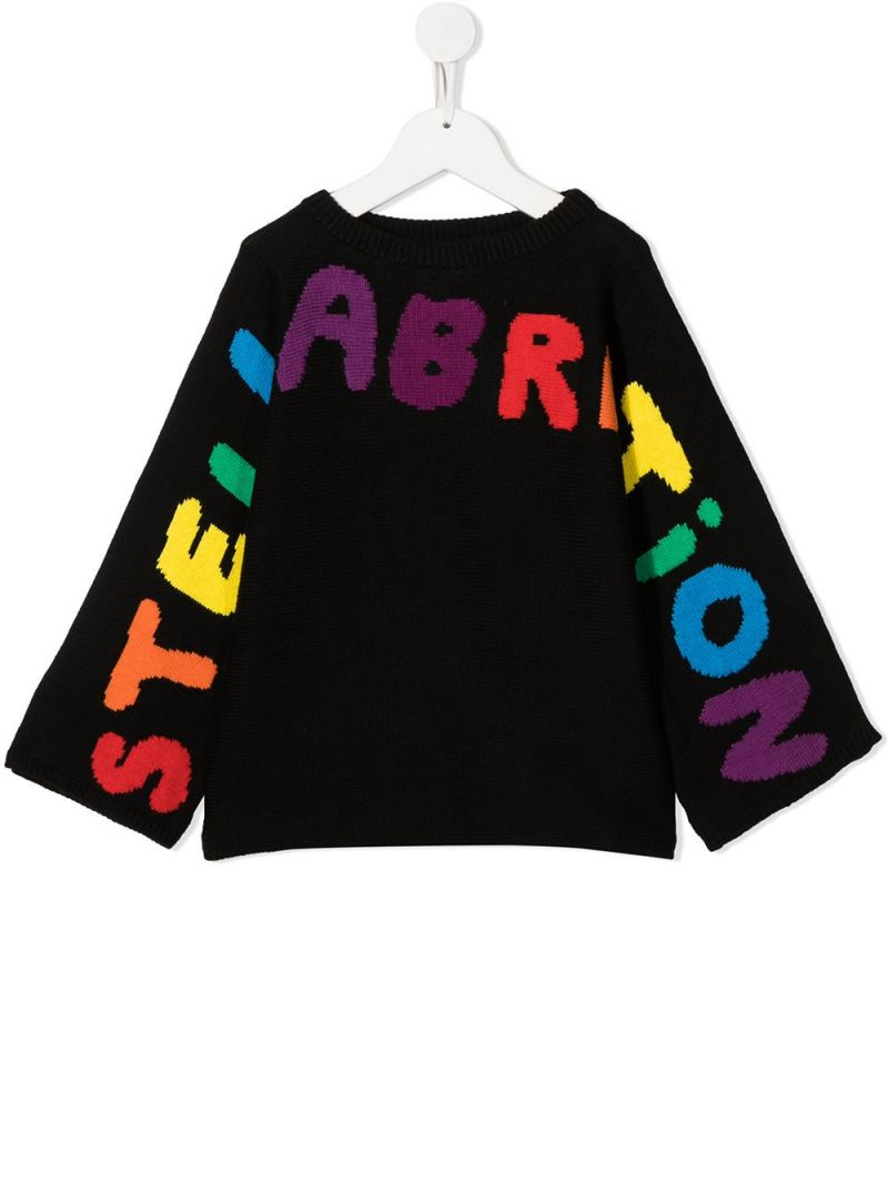STELLA McCARTNEY KIDS: Stellabration cotton wool blend pullover Color Black_1