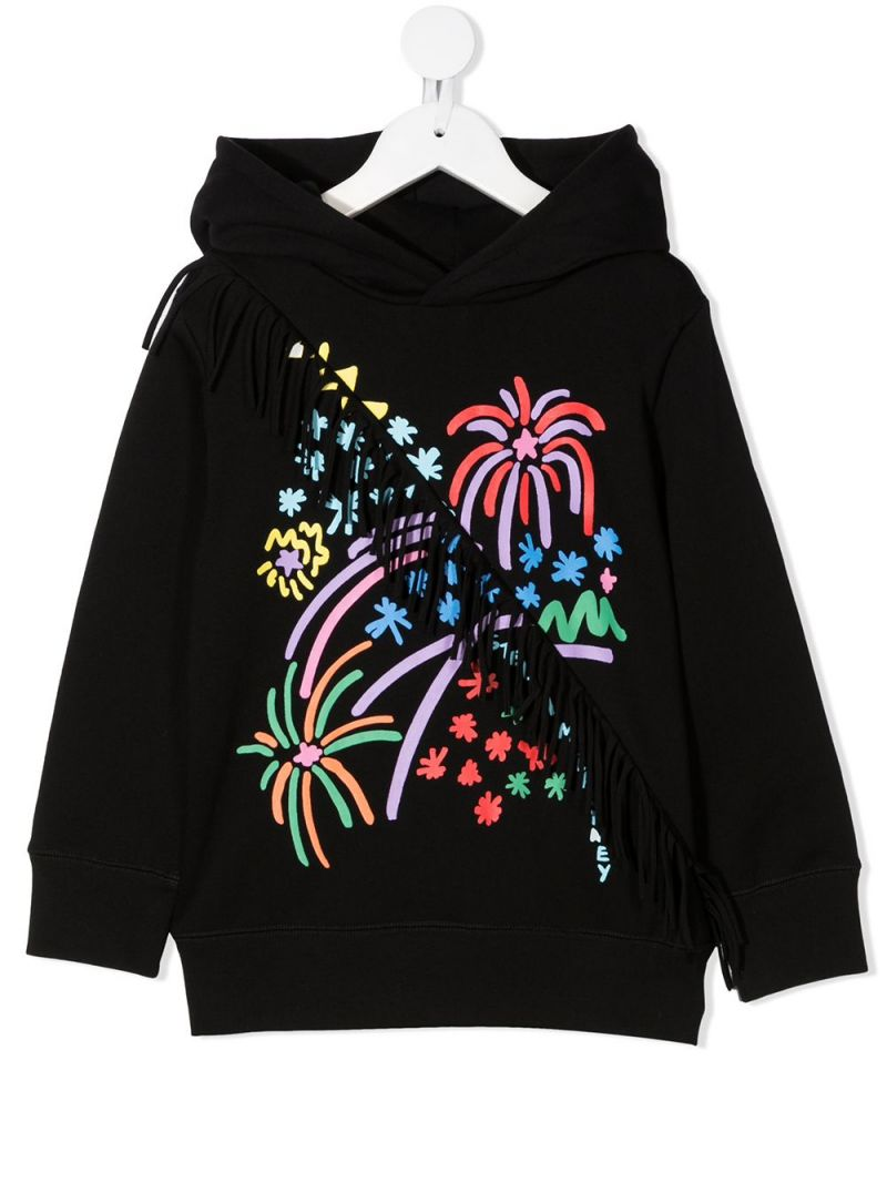 STELLA McCARTNEY KIDS: fireworks print cotton hoodie Color Black_1