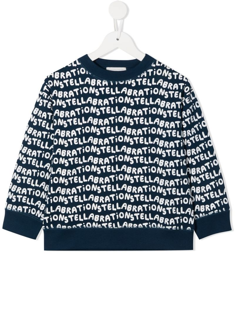 STELLA McCARTNEY KIDS: Stellabration print cotton sweatshirt Color Blue_1