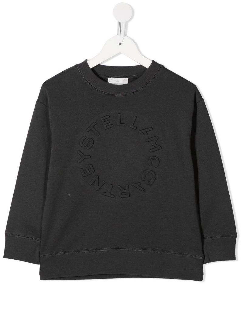 STELLA McCARTNEY KIDS: embossed logo technical cotton sweatshirt Color Grey_1