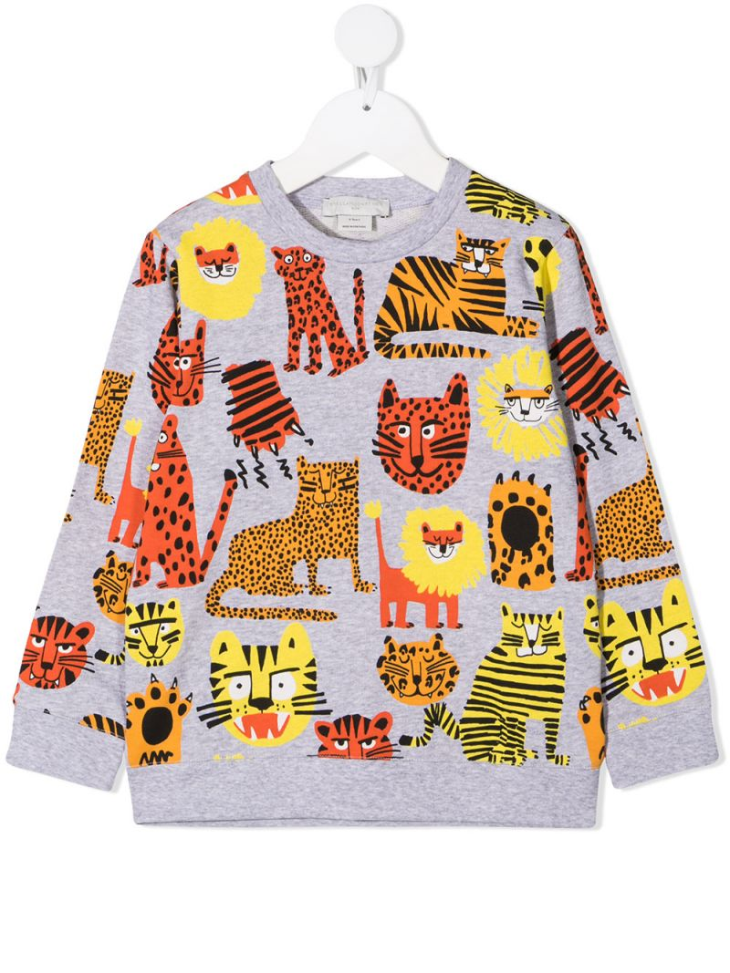 STELLA McCARTNEY KIDS: Wild Cats organic cotton sweatshirt Color Grey_1