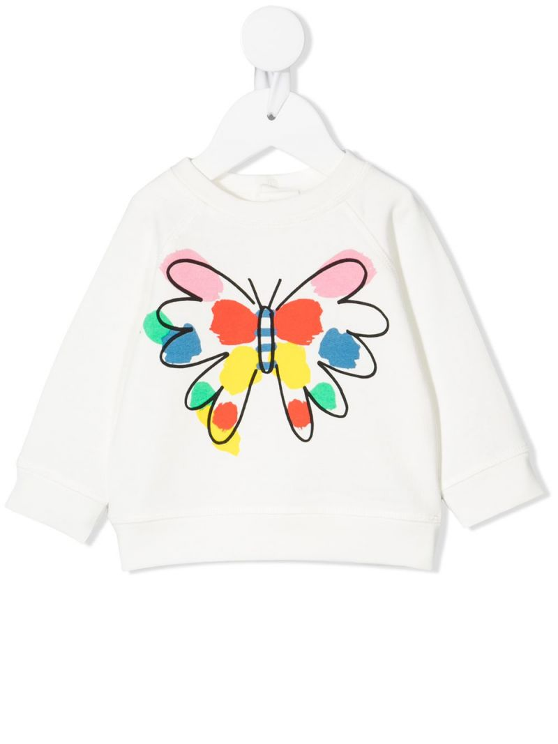 STELLA McCARTNEY KIDS: butterfly print cotton sweatshirt Color White_1