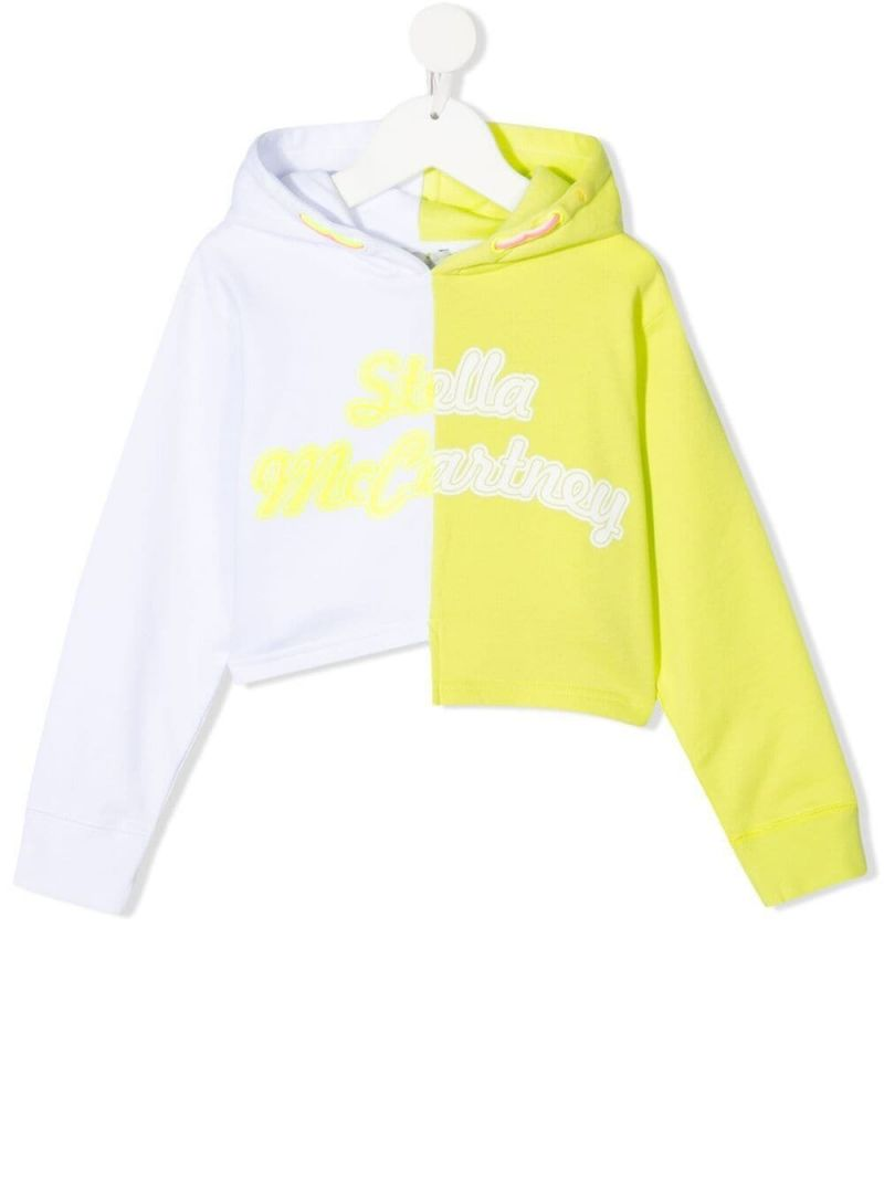 STELLA McCARTNEY KIDS: colour-block asymmetric cotton hoodie Color White_1