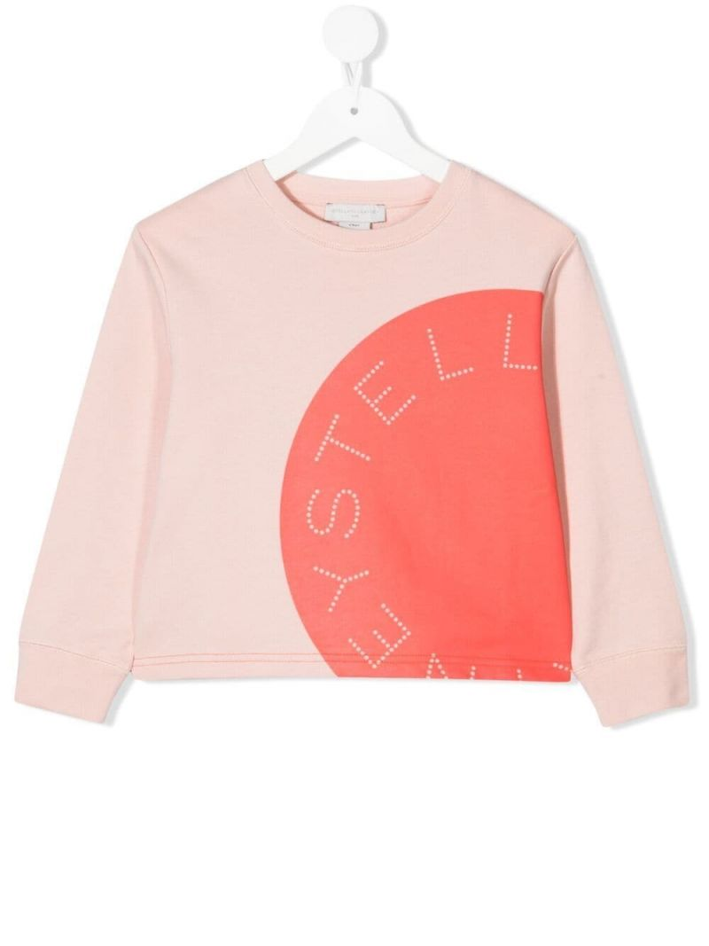 STELLA McCARTNEY KIDS: logo print cotton sweatshirt Color Multicolor_1