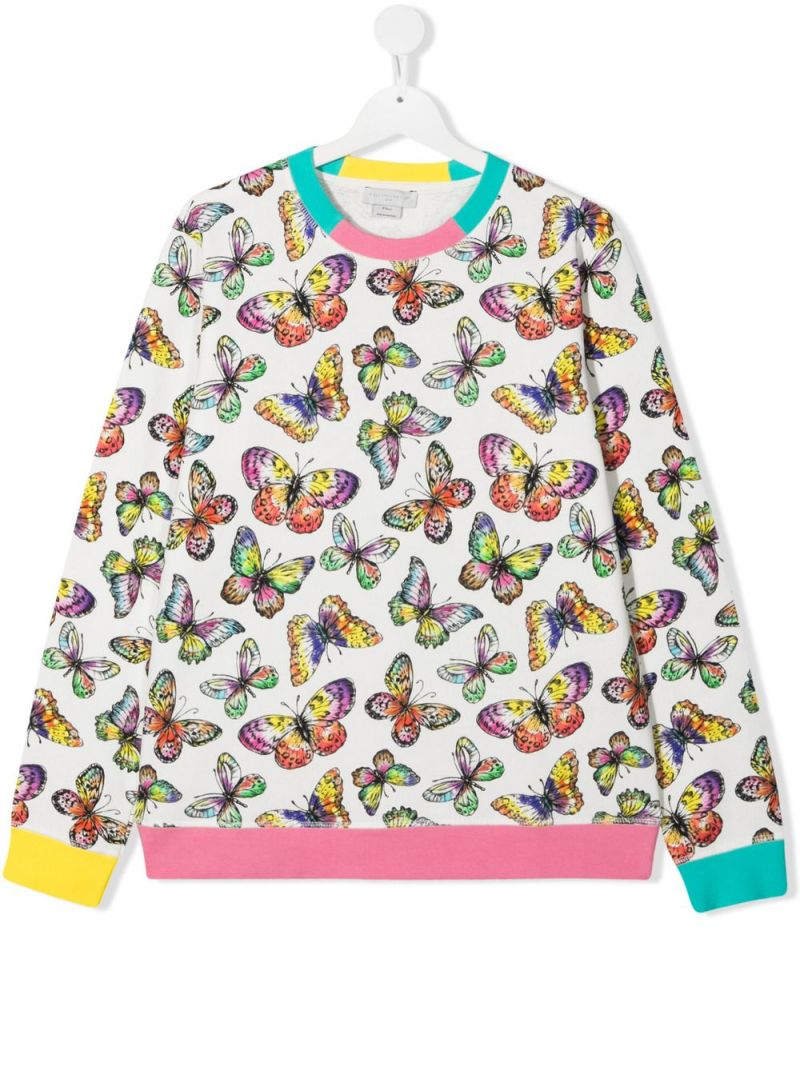 STELLA McCARTNEY KIDS: butterfly print organic cotton sweatshirt Color White_1