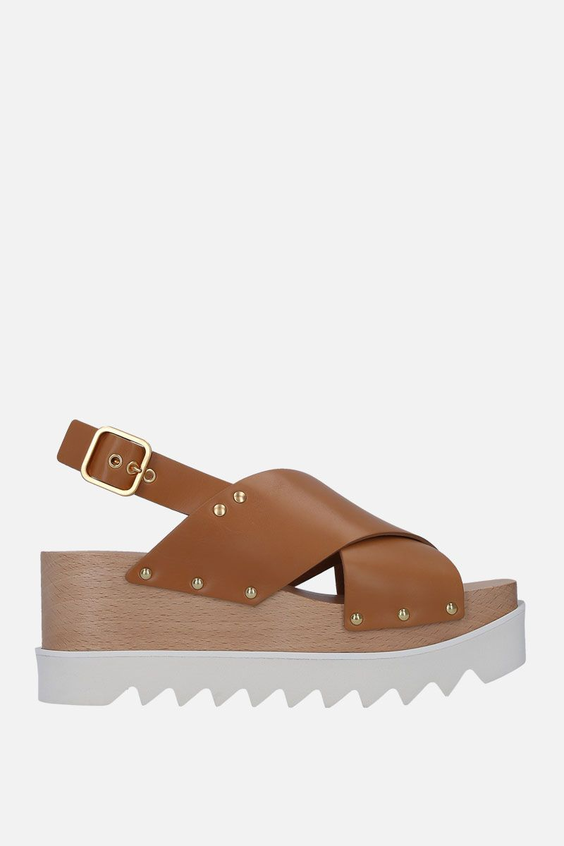 STELLA McCARTNEY: Percy flatform sandals in Alter Nappa Color Brown_1
