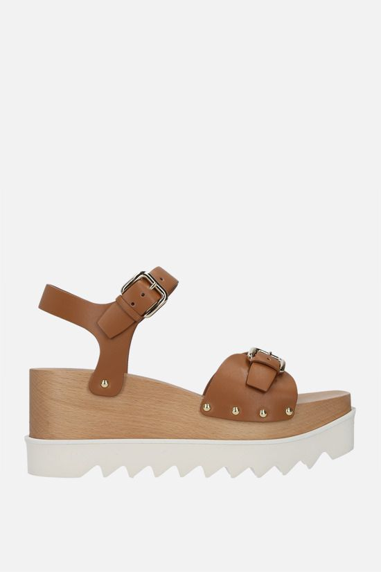 STELLA McCARTNEY: Elyse flatform sandals in Alter Nappa Color Brown_1