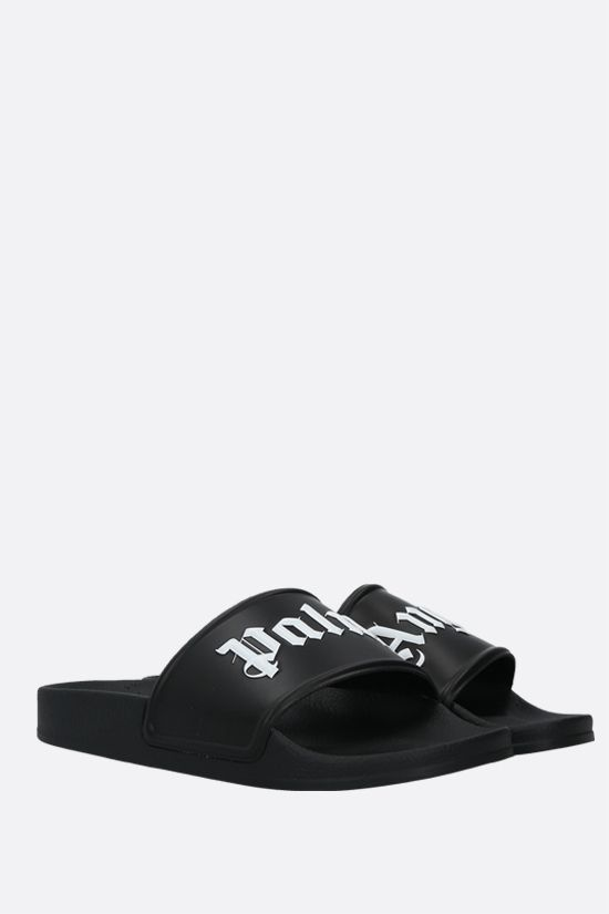 PALM ANGELS: logo-detailed rubber slide sandals Color Black_2
