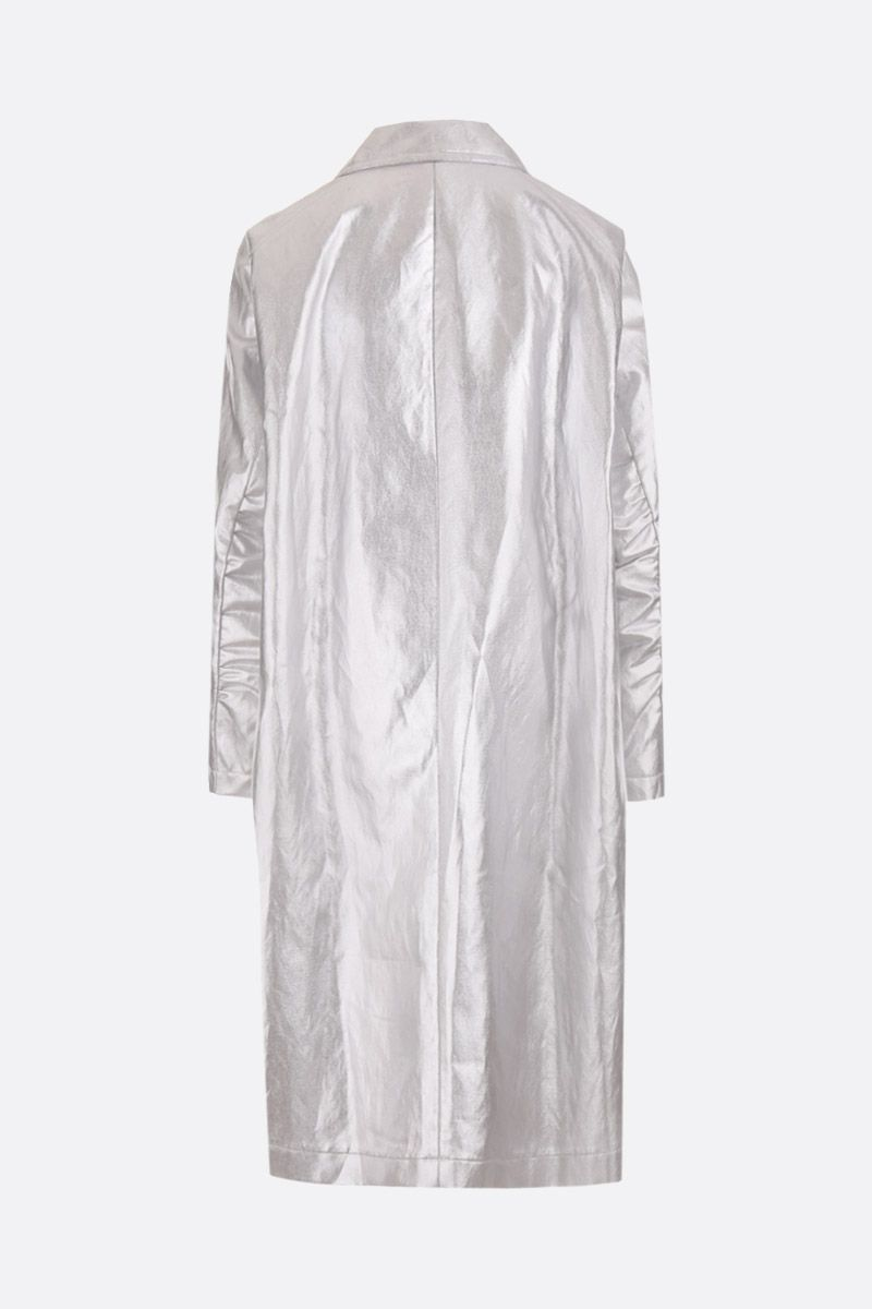 SANTONI: laminated canvas single-breasted car coat Color Silver_2