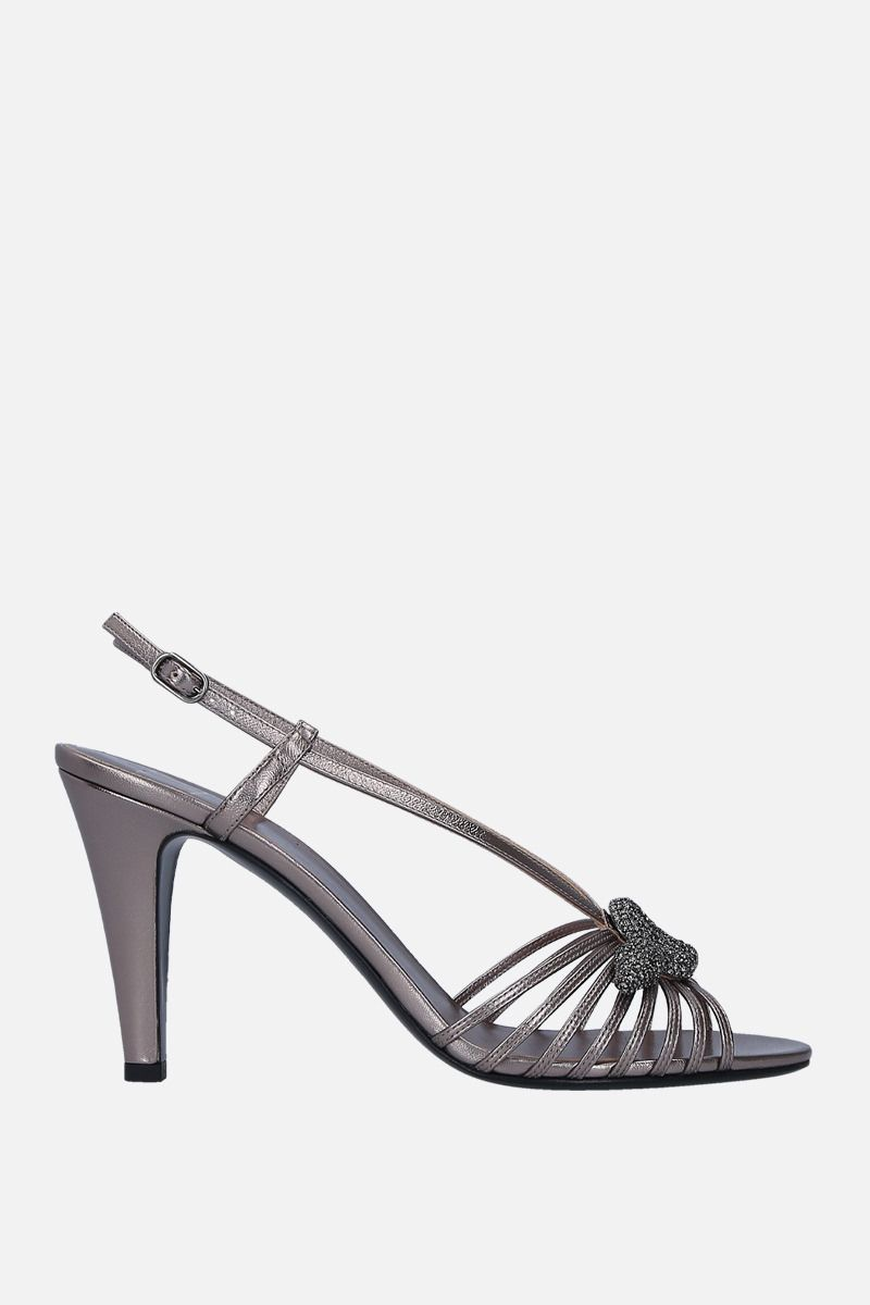 VALENTINO GARAVANI: jewel-detailed laminated leather sandals Color Silver_1