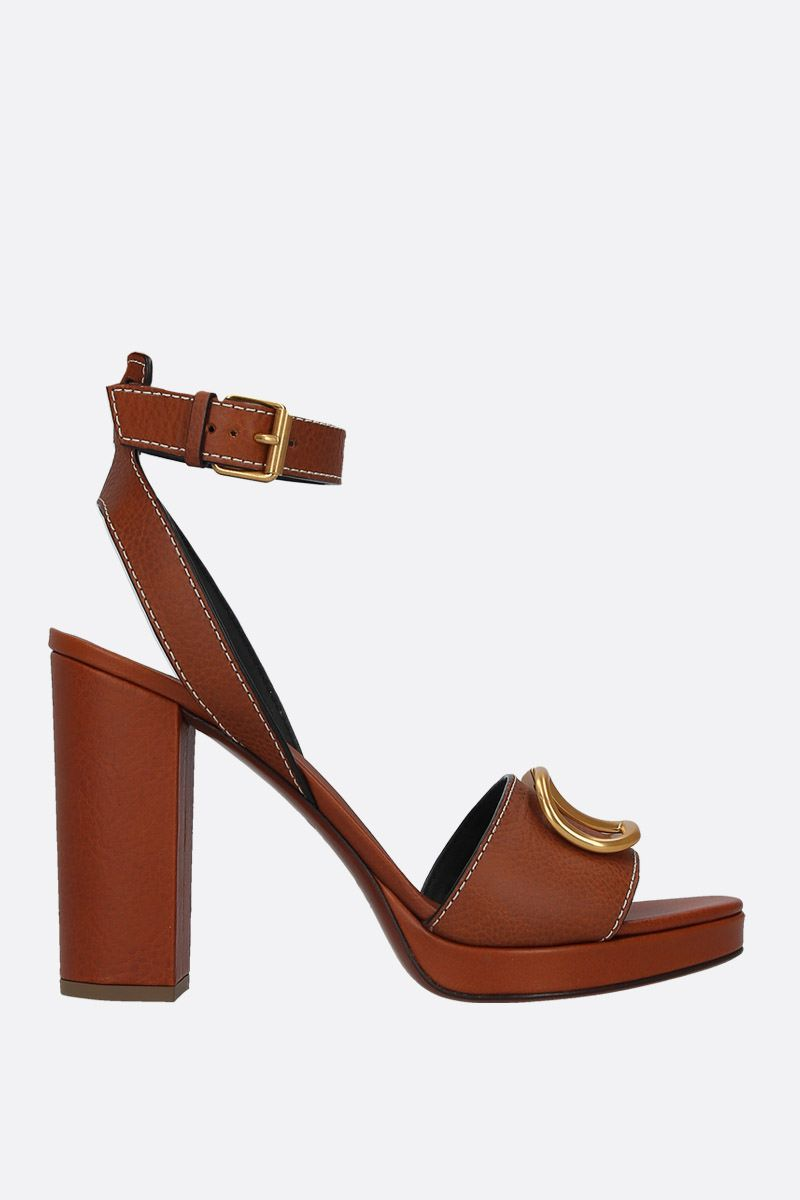VALENTINO GARAVANI: VLOGO platform sandals in grainy leather Color Brown_1