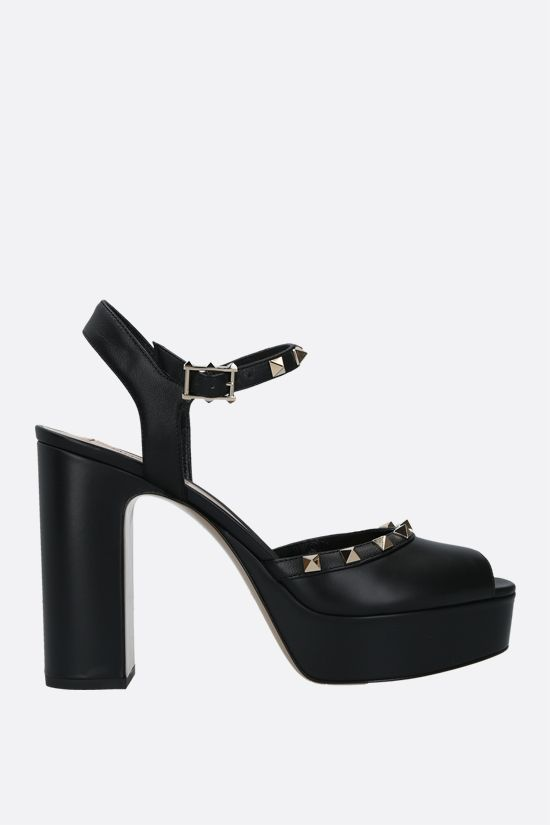 VALENTINO GARAVANI: Rockstud smooth leather platform sandals Color Black_1