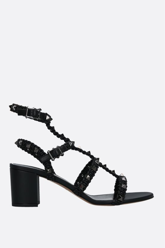 VALENTINO GARAVANI: Rockstud crochet nappa sandals Color Black_1