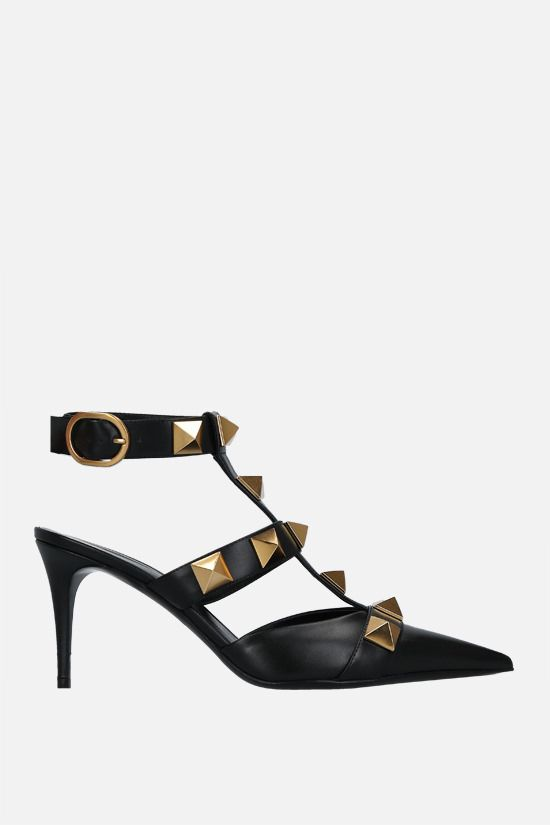 VALENTINO GARAVANI: Roman Stud smooth leather sandals Color Black_1