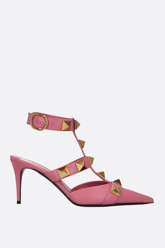 VALENTINO GARAVANI: Roman Stud smooth leather sandals Color Pink_1