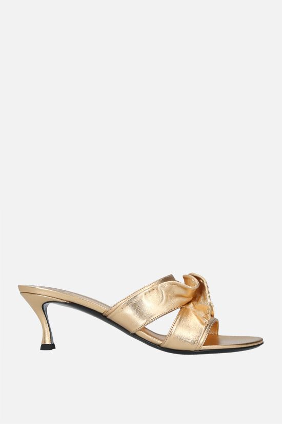 VALENTINO GARAVANI: Atelier Shoes 04 Rouches Edition laminated nappa mule sandals Color Neutral_1