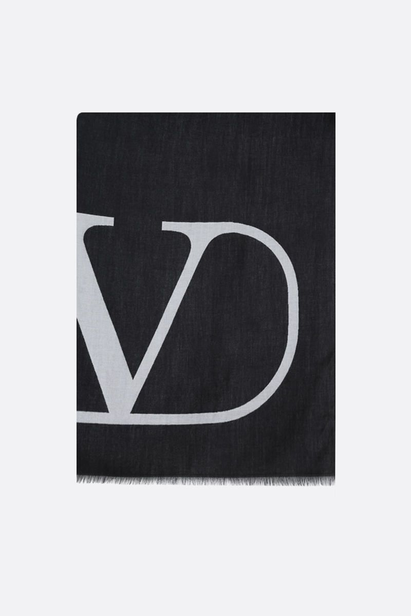 VALENTINO GARAVANI: VLOGO wool silk blend stole Color Black_1