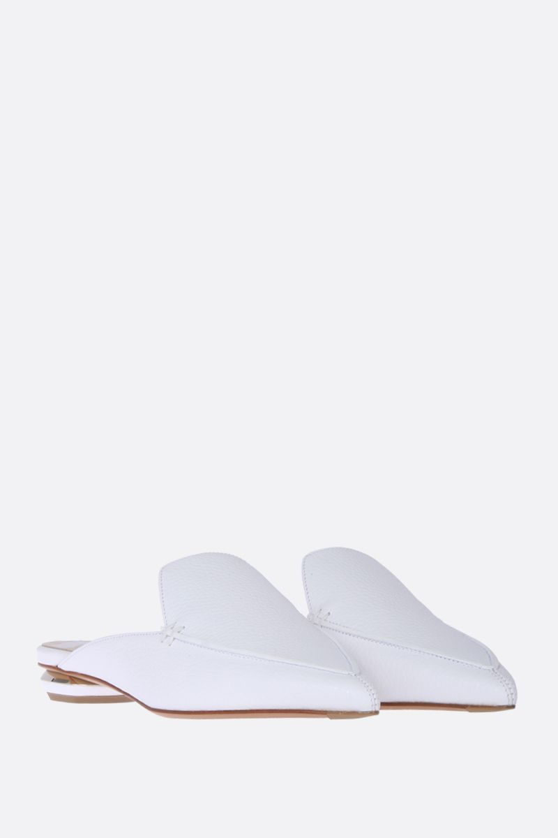 NICHOLAS KIRKWOOD: Beya mules in tumbled calfskin Color White_2