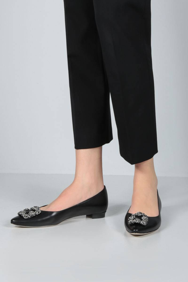 MANOLO BLAHNIK: Hangisi smooth leather ballerinas Color Black_2