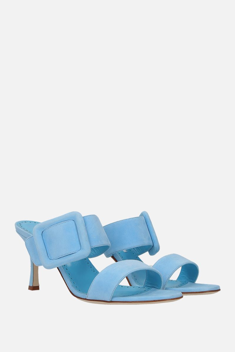 MANOLO BLAHNIK: sandalo mule Gable in suede Colore Blu_2