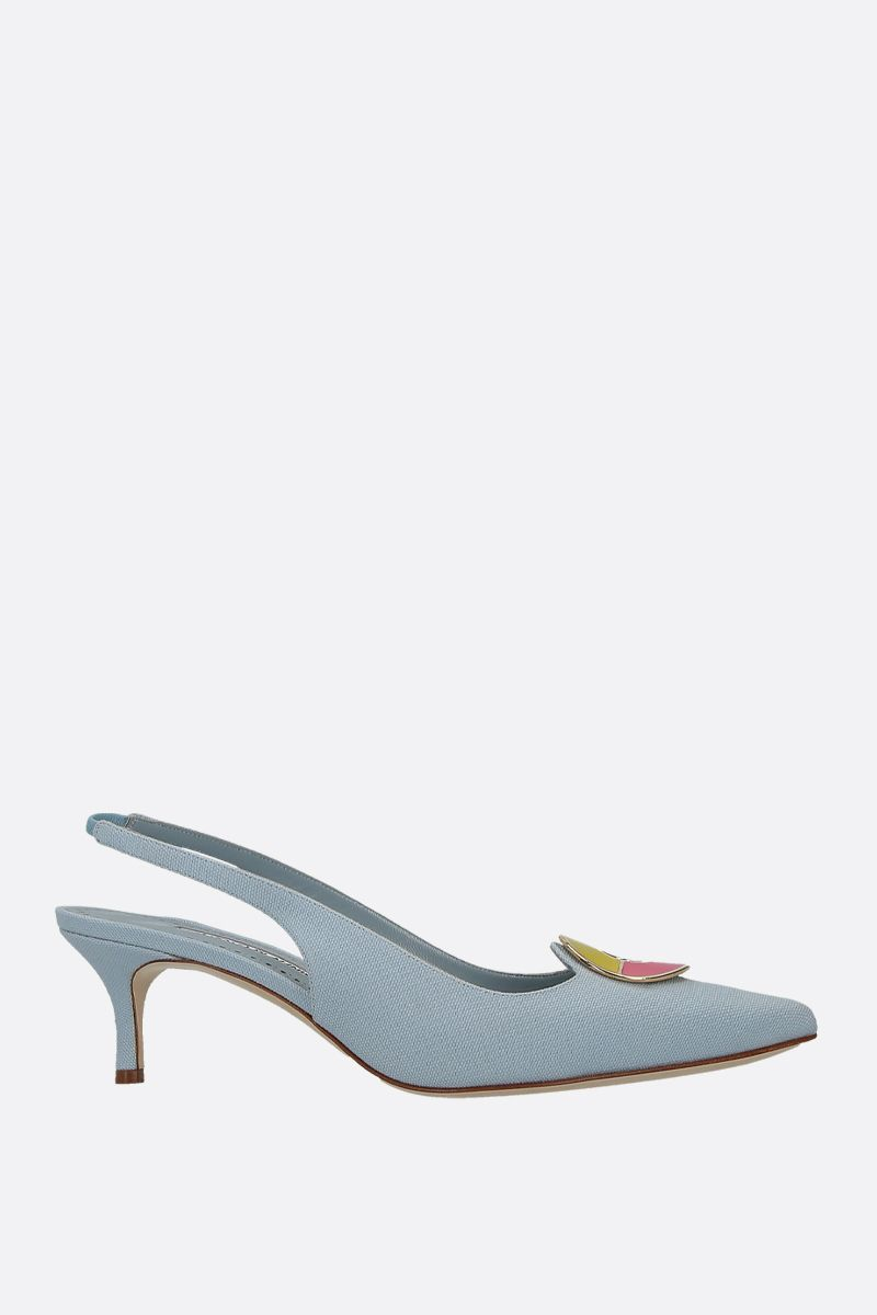 MANOLO BLAHNIK: slingback Malasli in canvas Colore Blu_1