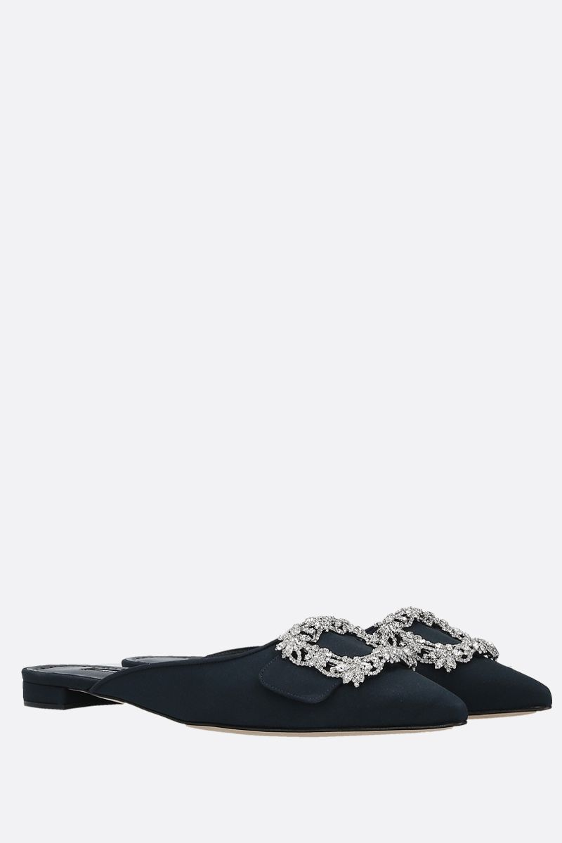 MANOLO BLAHNIK: Maysale Jewel crepe de chine slippers Color Blue_2