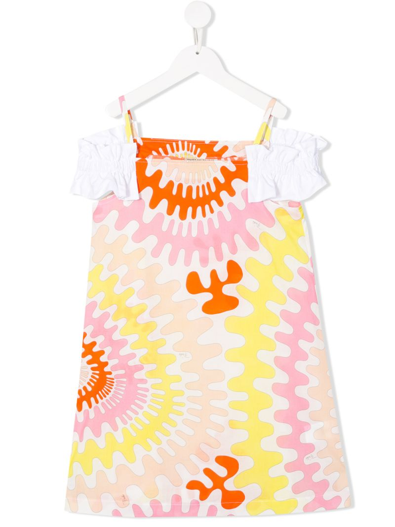 EMILIO PUCCI JUNIOR: graphic print cotton A-line dress Color White_1