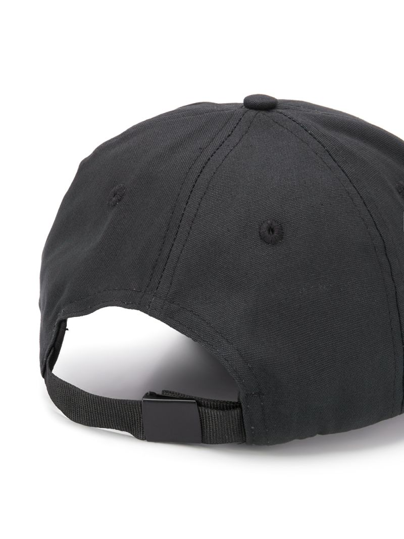 STONE ISLAND JUNIOR: logo embroidered canvas baseball cap Color Black_2