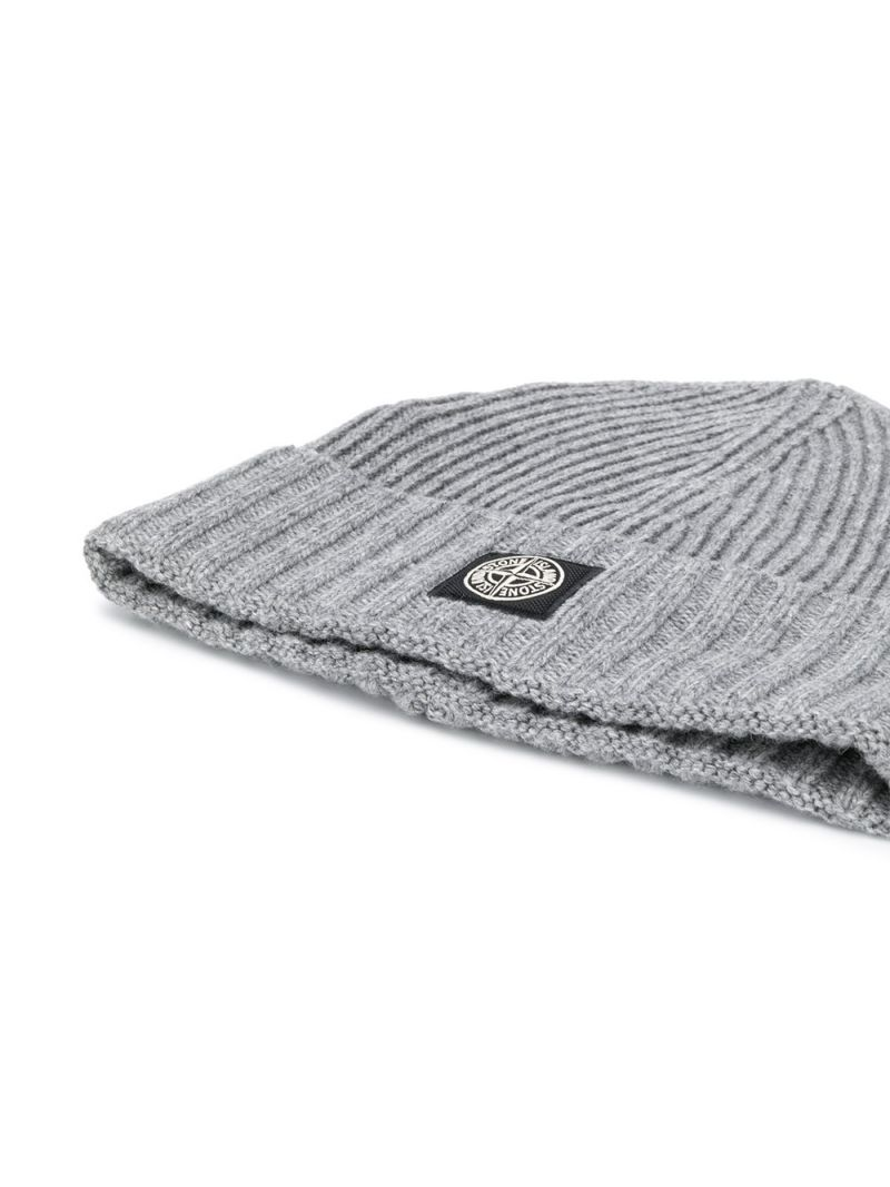STONE ISLAND JUNIOR: logo patch wool cashmere blend beanie_2