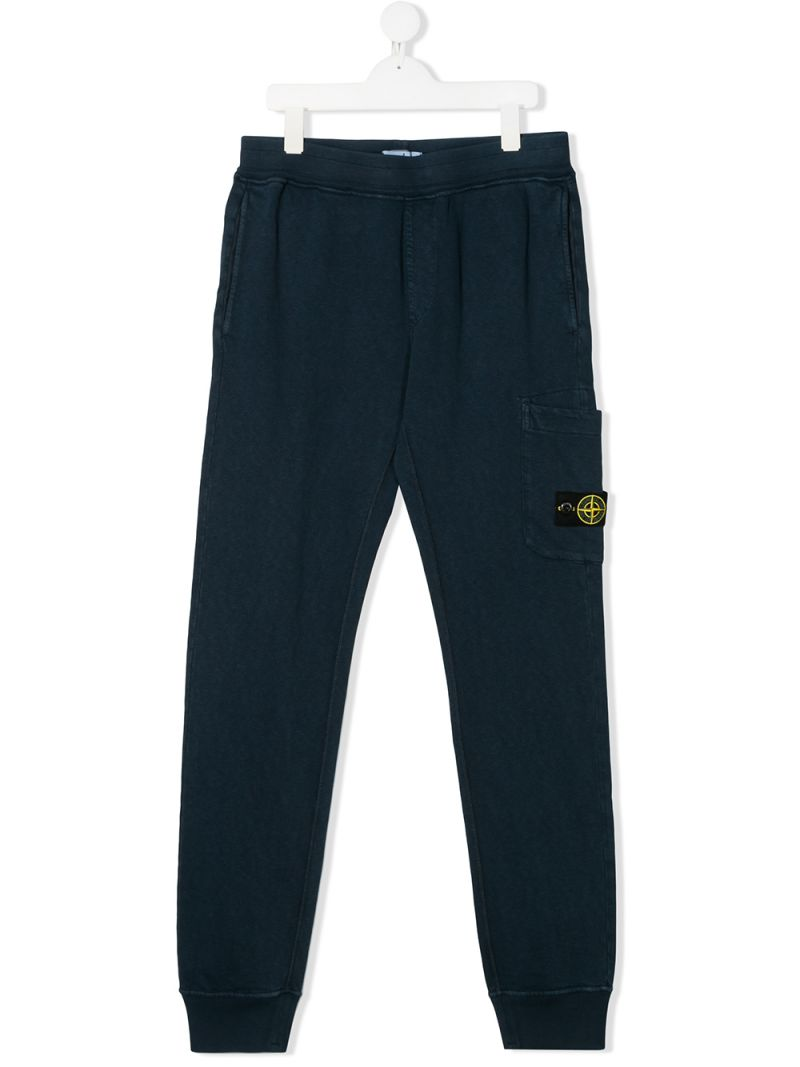 STONE ISLAND JUNIOR: logo badge-detailed cotton joggers Color Blue_1