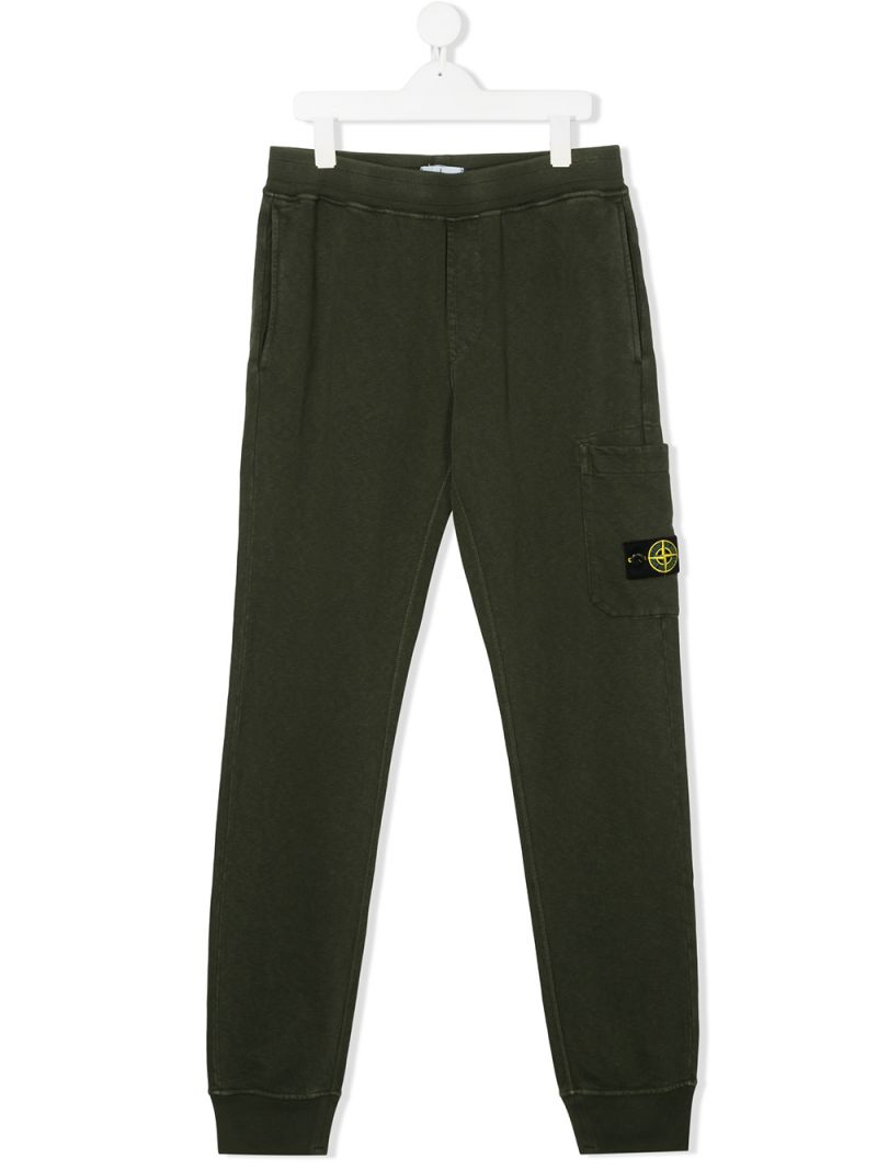 STONE ISLAND JUNIOR: logo badge-detailed cotton joggers Color Brown_1
