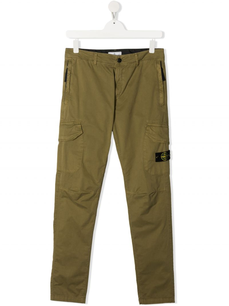 STONE ISLAND JUNIOR: logo badge-detailed stretch cotton cargo pants Color Green_1