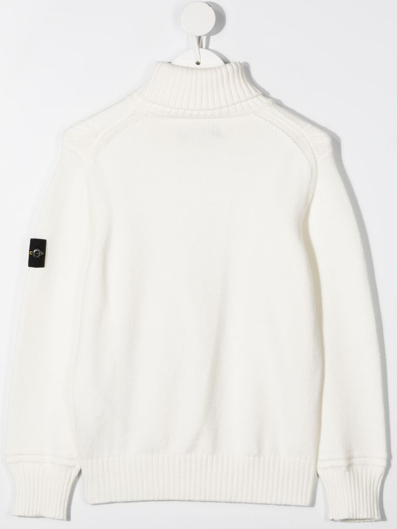 STONE ISLAND JUNIOR: logo badge-detailed cotton blend turtleneck Color White_2