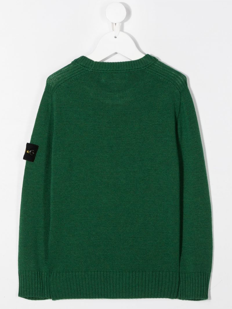STONE ISLAND JUNIOR: pullover in misto lana e cashmere con badge logo Colore Verde_2