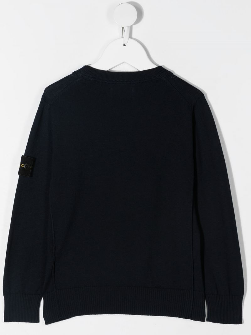 STONE ISLAND JUNIOR: logo badge-detailed cotton pullover Color Blue_2