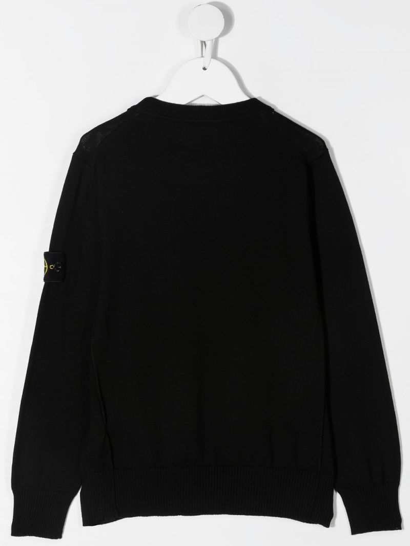 STONE ISLAND JUNIOR: logo badge-detailed cotton pullover Color Black_2