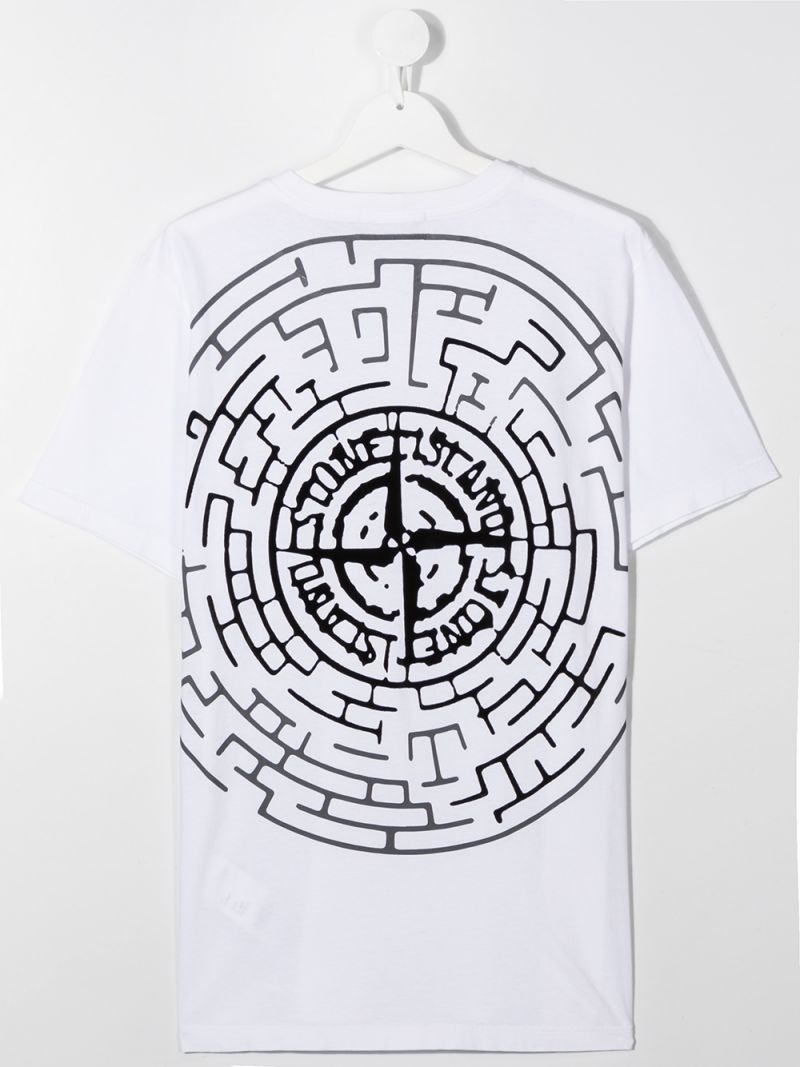 STONE ISLAND JUNIOR: logo print cotton t-shirt Color White_2