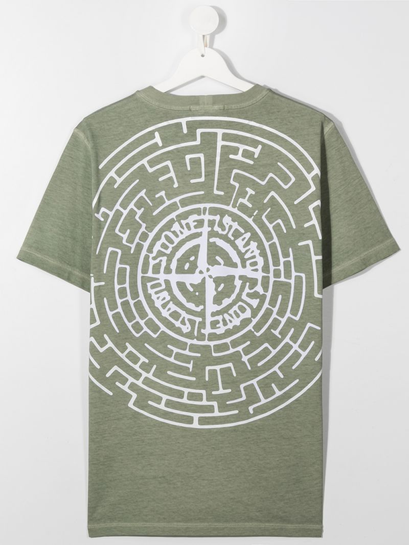 STONE ISLAND JUNIOR: logo print cotton t-shirt Color Green_2
