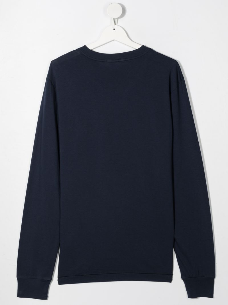 STONE ISLAND JUNIOR: logo patch cotton long-sleeved t-shirt Color Blue_2