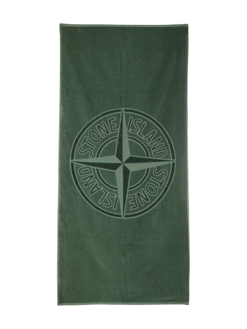 STONE ISLAND JUNIOR: logo-detailed cotton beach towel Color Pink_2