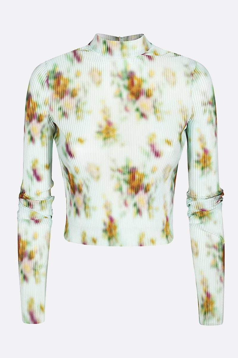 FRANKIE MORELLO: printed pleated fabric cropped top Color Multicolor_1