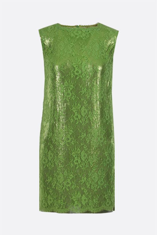 GIANNI VERSACE: Oroton metal mesh and lace pencil dress Color Green_1