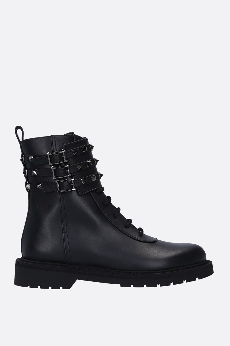 VALENTINO GARAVANI: Rockstud combat boots in smooth leather Color Black_1