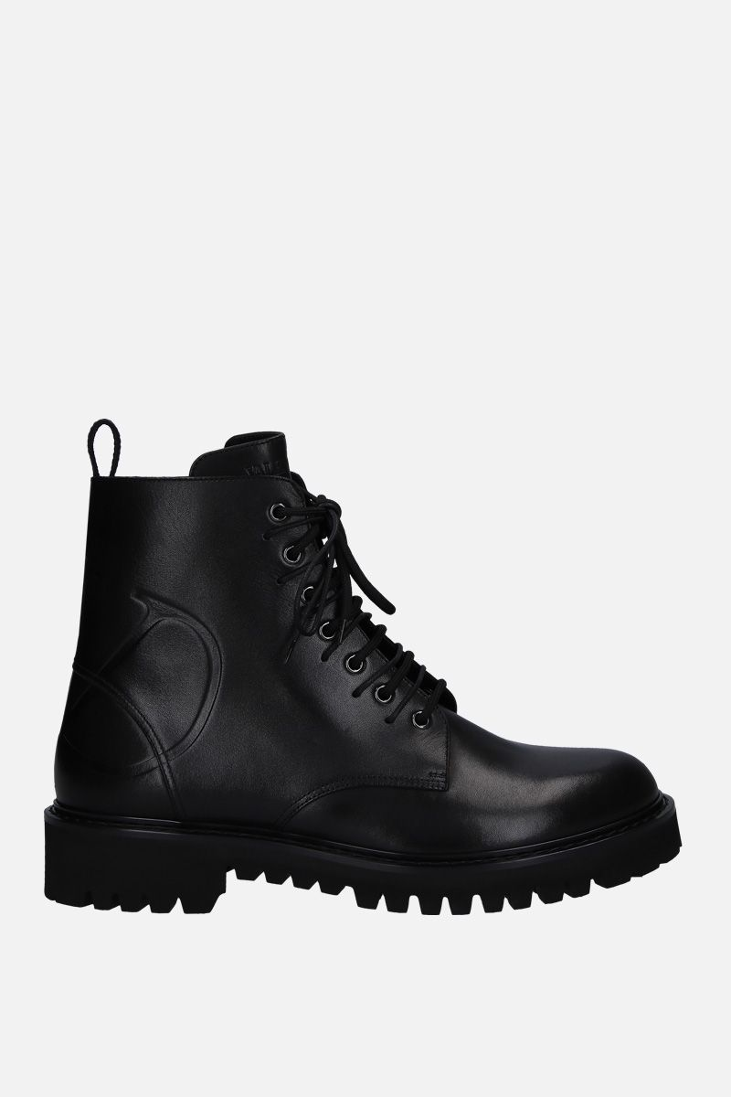 VALENTINO GARAVANI: VLOGO combat boots in smooth leather Color Black_1