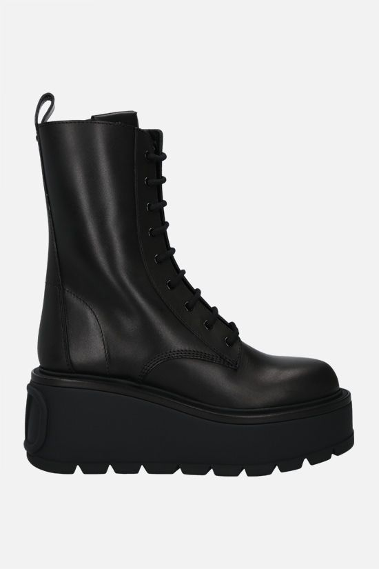 VALENTINO GARAVANI: Uniqueform smooth leather combat boots Color Black_1