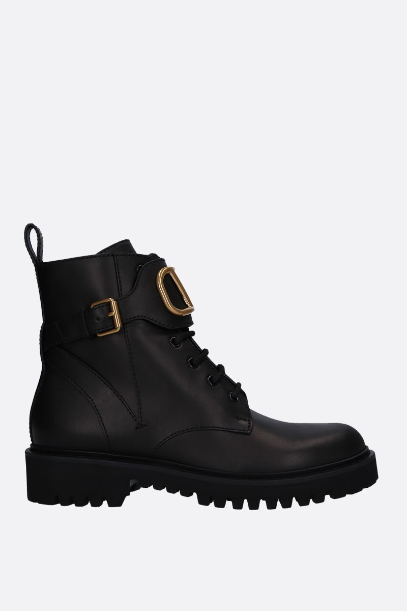 VALENTINO GARAVANI: VLOGO smooth leather combat boots Color Black_1