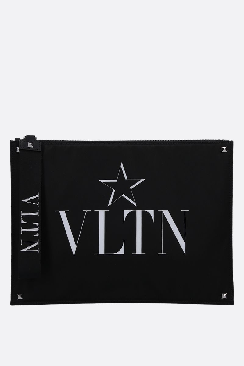 VALENTINO GARAVANI: VLTNSTAR nylon clutch Color Black_1