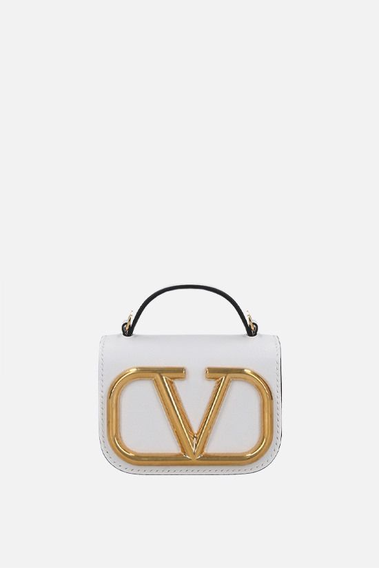 VALENTINO GARAVANI: Supervee smooth leather chain clutch Color White_1