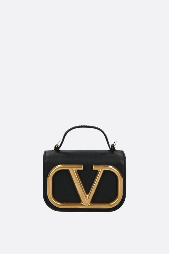 VALENTINO GARAVANI: Supervee smooth leather chain clutch Color Black_1
